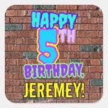 [ Thumbnail: 5th Birthday – Fun, Urban Graffiti Inspired Look Sticker ]