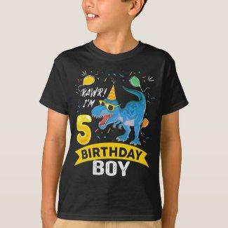 5th birthday Gift Boy T Rex Dinosaur 5 Year Old T-Shirt