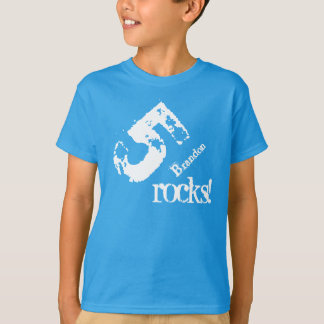 5th Birthday Gift for 5 Year Old Number on Slant T-Shirt