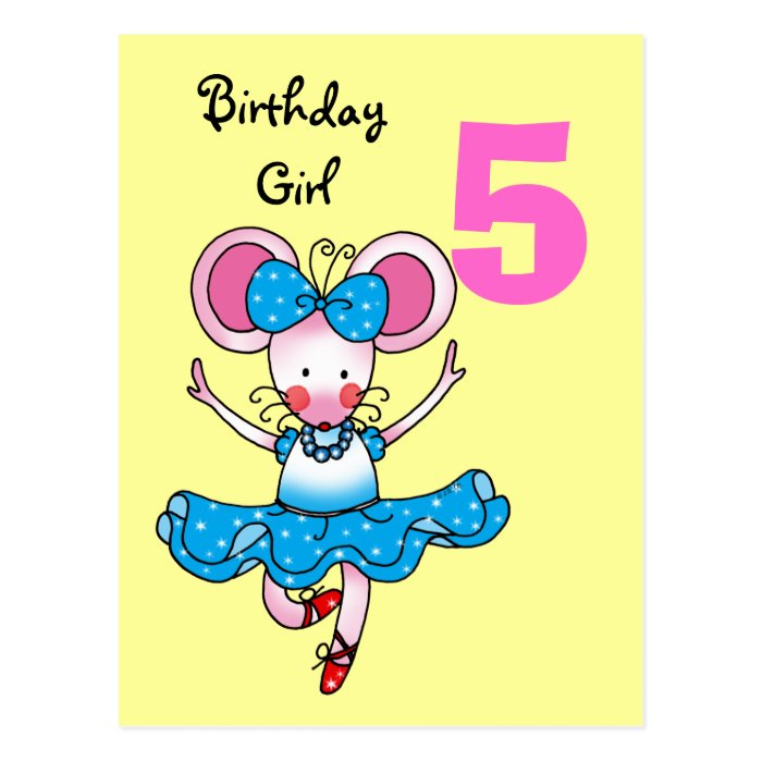 5th Birthday Gift For A Girl, Cute Ballerina Postcard