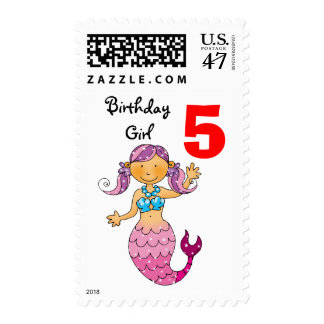 5th birthday gift for a girl, cute mermaid postage stamp