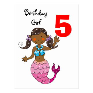 5th birthday gift for a girl, cute mermaid postcard