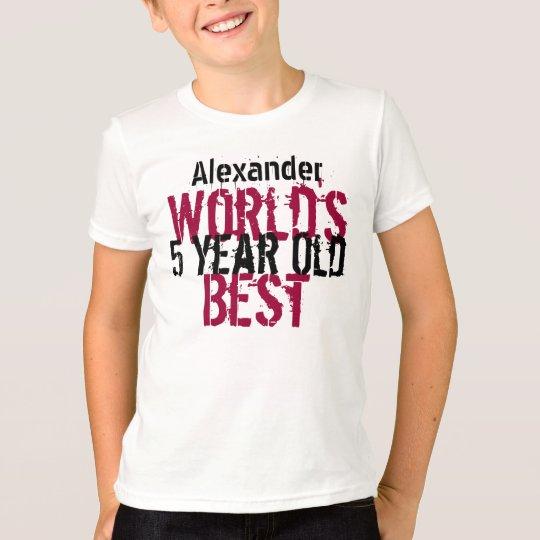 5th Birthday Gift World's Best 5 Year Old Boy T-Shirt