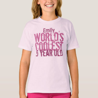5th Birthday Gift World's Coolest 5 Year Old Girl T-Shirt