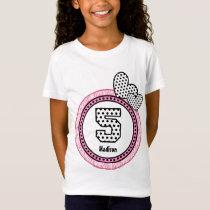 5th Birthday Gift Zebra Polka Dot Pattern V03D T-Shirt