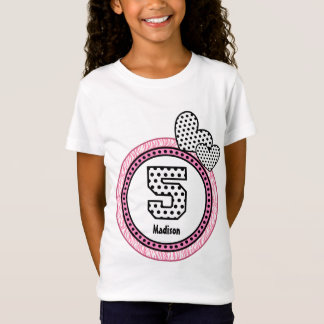 5th Birthday Gift Zebra Polka Dot Pattern V03D T-Shirt