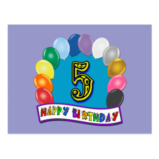 5th Birthday Gifts with Assorted Balloons Design Postcards