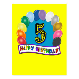 5th Birthday Gifts with Assorted Balloons Design Postcard
