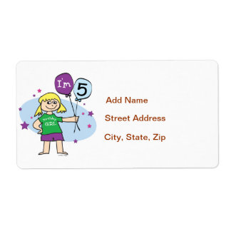 5th Birthday Girl - Blonde Hair Shipping Label