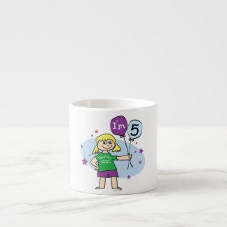 5th Birthday Girl - Blonde Hair 6 Oz Ceramic Espresso Cup