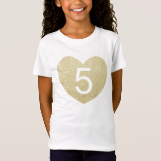 5th Birthday Girl Glitter heart Personalized T-Shirt