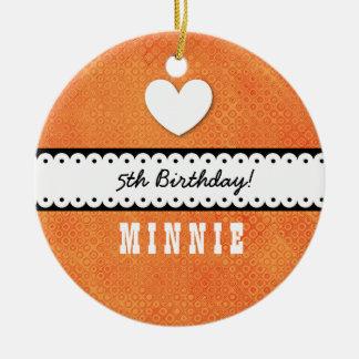 5th Birthday Girl Heart and Scalloped Ribbon A10Z Ceramic Ornament