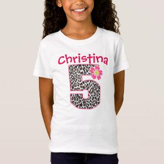 5th Birthday Girl Hot Pink & leopard print T-Shirt