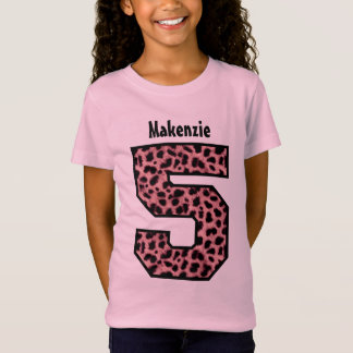 5th Birthday Girl LEOPARD Five Year Custom Name V1 T-Shirt