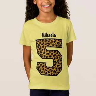 5th Birthday Girl LEOPARD Five Year Custom Name V2 T-Shirt