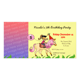 5th birthday girl party invitations (pink pony) photo card