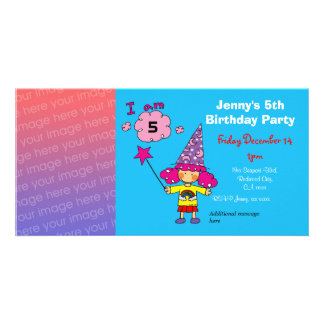 5th birthday girl party invitations (wizard) photo card