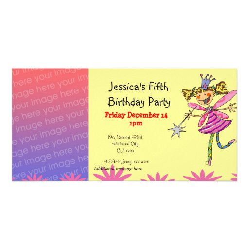 5th birthday girl party (princess fairy) custom photo card