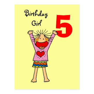 5th birthday girl postcard