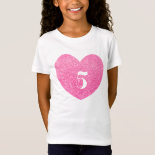 5th Birthday Glitter Pink Heart Personalized T Shirt