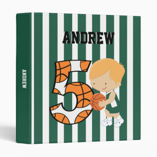 5th Birthday Green and White Basketball Player 3 Ring Binders