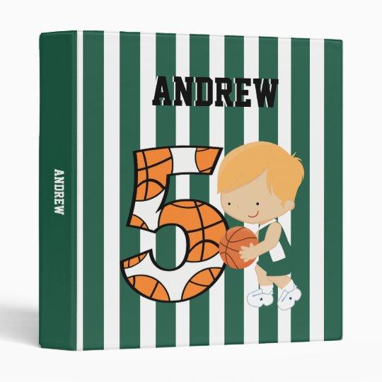 5th Birthday Green and White Basketball Player Binder