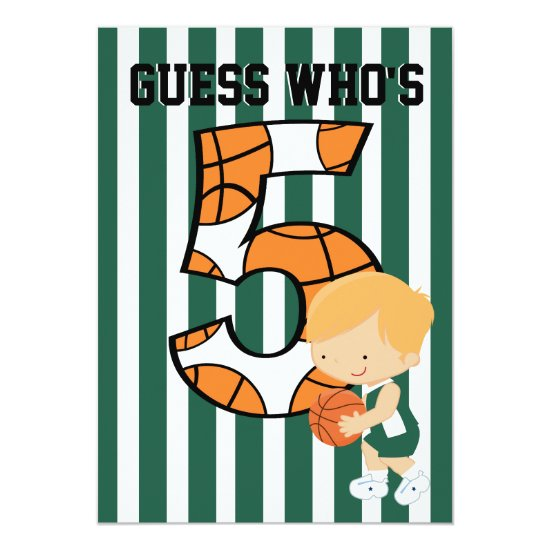 5th Birthday Green and White Basketball Player Invitation