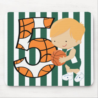 5th Birthday Green and White Basketball Player Mouse Pad