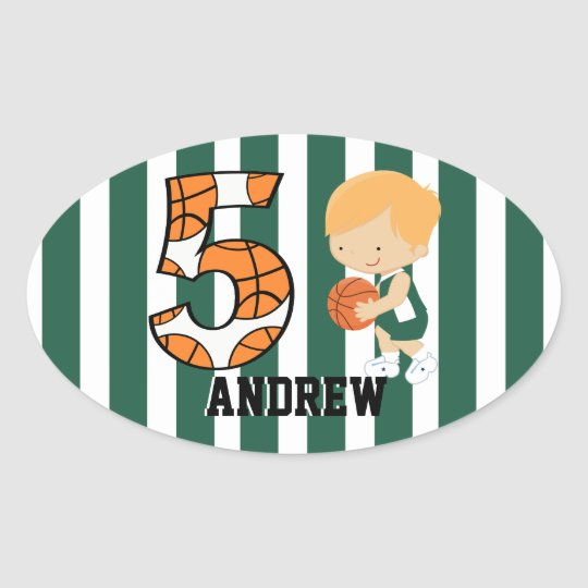 5th Birthday Green and White Basketball Player Oval Sticker