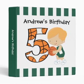 5th Birthday Green and White Basketball Player v2 3 Ring Binder