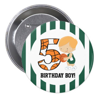 5th Birthday Green and White Basketball Player v2 3 Inch Round Button