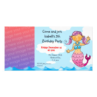 5th birthday mermaid girl party personalized custom photo card