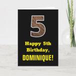 "[ Thumbnail: 5th Birthday: Name, Faux Wood Grain Pattern ""5"" Card ]"