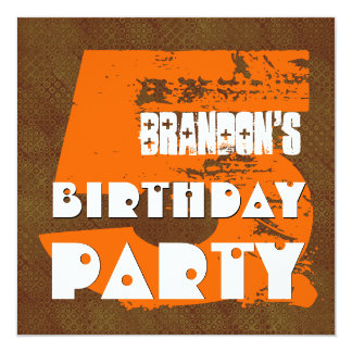 5th Birthday Party 5 Year Old Grunge Design Card