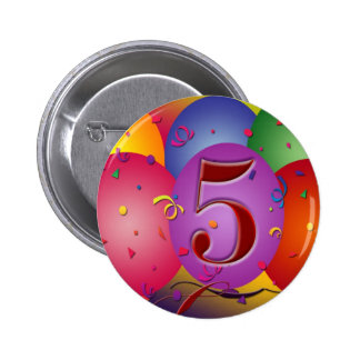 5th Birthday Party Balloon decorations 2 Inch Round Button