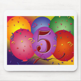 5th Birthday Party Balloon decorations Mouse Pad
