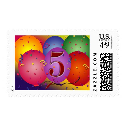 5th birthday party balloon decorations postage zazzle for 5th birthday decoration ideas