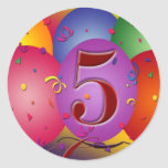 5th Birthday Party Balloon decorations Sticker