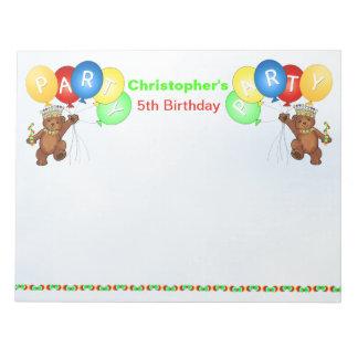 5th Birthday Party Bear Games Notepad