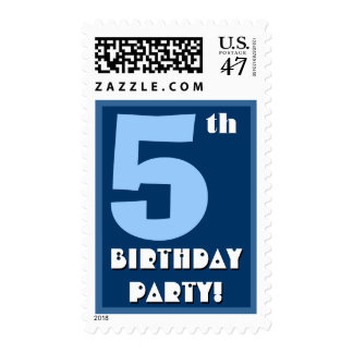 5th Birthday Party Big Bold Blue and White Postage Stamp
