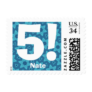 5th Birthday Party Big Number BLUE Stars V14 Postage Stamp
