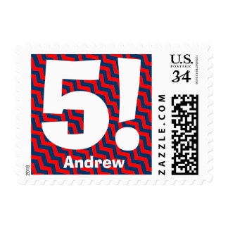 5th Birthday Party Big Number RED BLUE Chevrons V1 Stamp