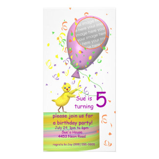 5th Birthday Party Chicken Invite Pink Balloon Photo Card Template