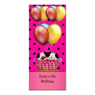 5th Birthday Party Dogs Balloons Blue Yellow Pink Card