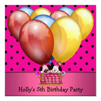 5th Birthday Party Dogs Balloons Blue Yellow Pink 5.25x5.25 Square Paper Invitation Card