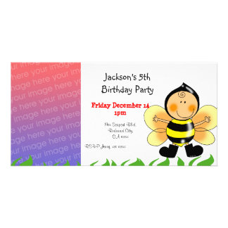 5th birthday party invitations ( bee costume )
