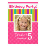 5th Birthday Party Invitations Fun Neon GIRL