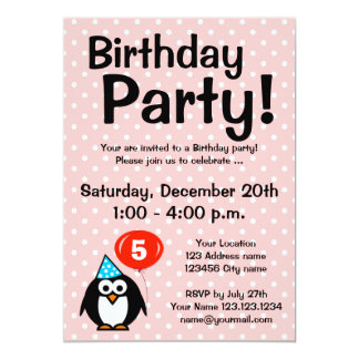 5th Birthday party invitations with funny penguin