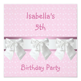 5th Birthday Party Pink White Spots & Bows Card