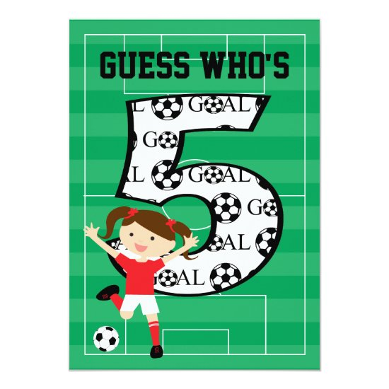 5th Birthday Party Red and White Soccer Girl Invitation